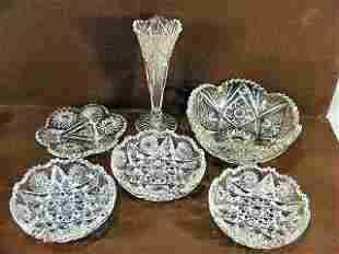 """Lot of 6 pieces brilliant cut glass, 8"""" vase with"""