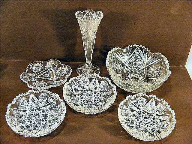 "24K: Lot of 6 pieces brilliant cut glass, 8"" vase with"