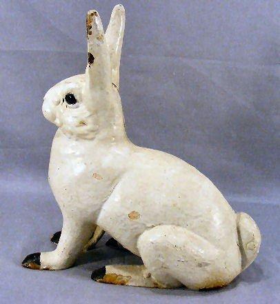 51M: Cast iron rabbit lawn ornament / door stop, painte - 2