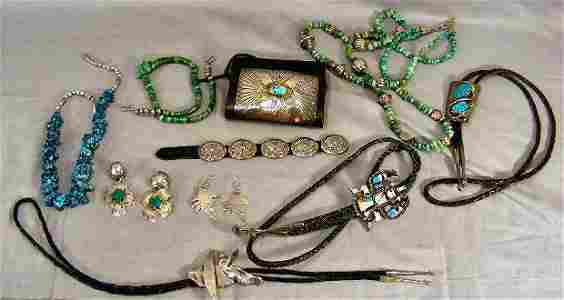 75M: Lot of Southwest sterling mounted jewelry includin