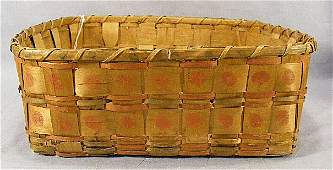 145M: American Indian splint basket w/ potato stamp dec