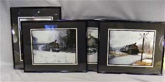 """242F: 4 framed train photos by Steve Cryan. 20.5"""" x 16."""