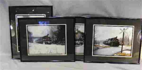 """4 framed train photos by Steve Cryan. 20.5"""" x 16."""