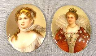 """Two Firenze portraits on porcelain, 2.5""""X 2"""", Queen"""