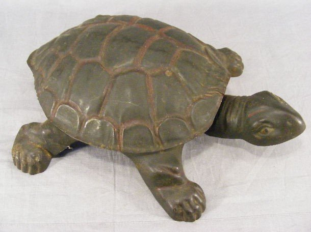4A: Stamped metal turtle figural spittoon, all original