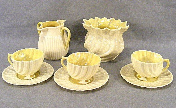 7F: Lot of green mark Belleek, 3 cups & saucers, double