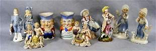 Lot including Toby jugs, blue German figurines, ea