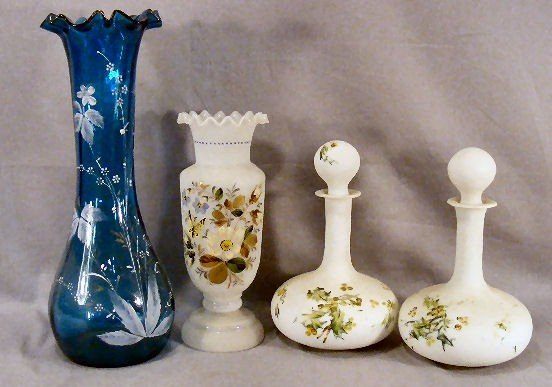 "15F: Lot including 14.75"" blue Victorian vase, 10.5"" Br"