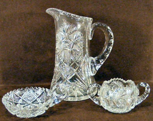 "17E: Lot of brilliant period cut glass, 9"" pitcher, han"