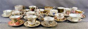 Large lot of 19 cups and saucers, most perfect, in