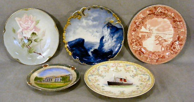 "20F: Lot of 5 plates including 9"" Limoges blue & white,"