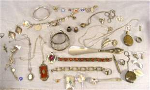 Sterling and silver jewelry, etc. Bangles, charm b