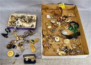 Costume jewelry lot, cufflinks, necklaces, pins, e