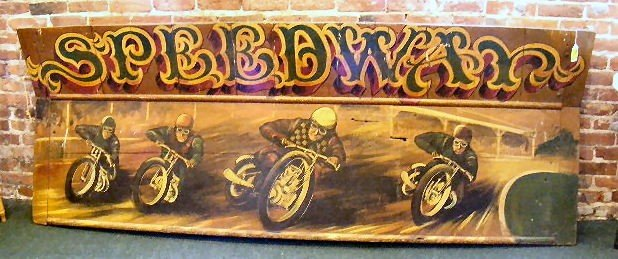 "57P: Circa 1940's ""Speed Way"" motorcycle wooden sign. 8"