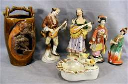 201A: Lot including pr. occupied Japan figurines, two m
