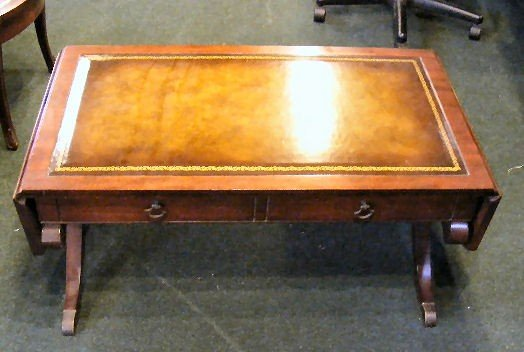 231Z: 3 piece set, 2 leather top end tables & leather t - 2