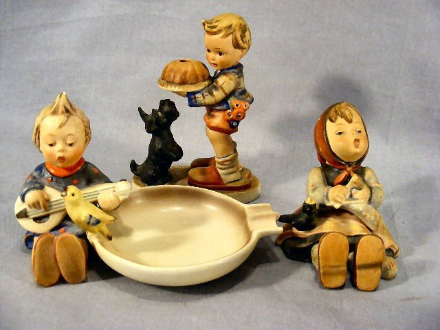 4G: 3 Full Bee Hummel figurines #9, #33 ash tray with s