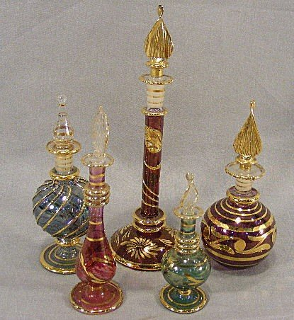 8Z: Lot of 5 Egyptian glass perfume bottles