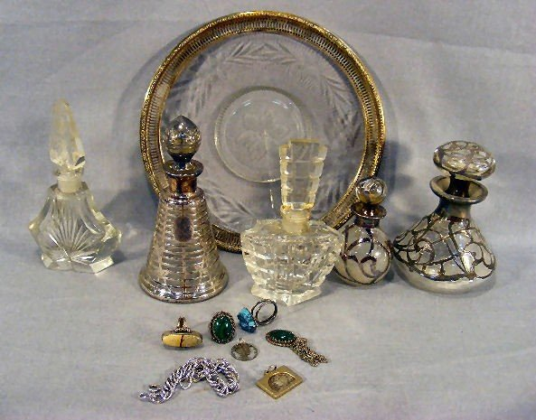 "10Z: Lot including sterling silver rimmed 8"", sterling"