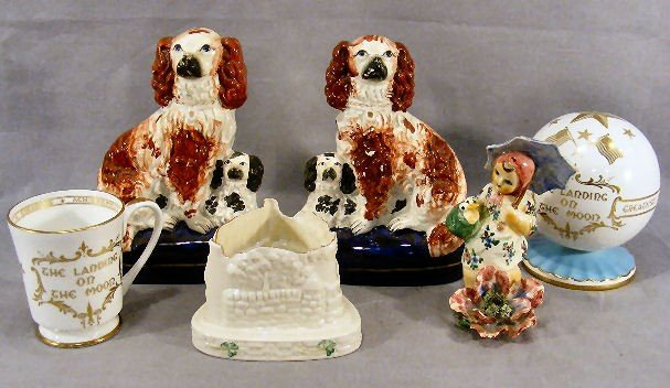 24K: Pair of Staffordshire spaniels, crack on back and