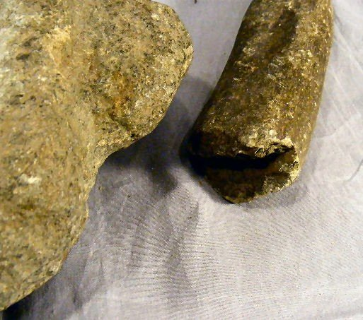 44H: Native American mortar & pestle, handles on each e - 3