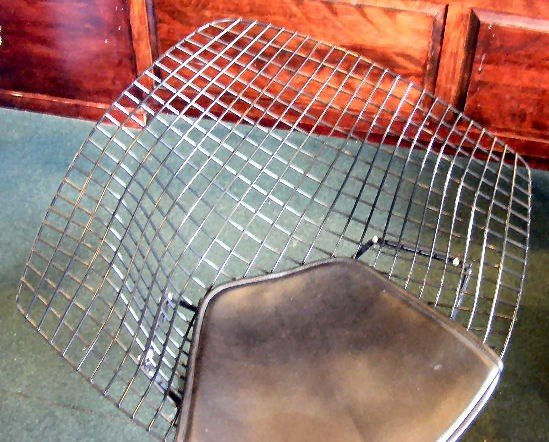 67H: Knoll black diamond (wire) chair w/ Knoll cushion, - 2