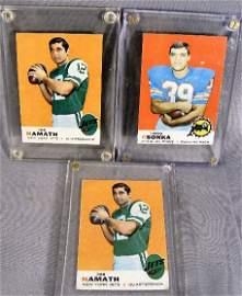83G: 3 football cards, (1969) two Joe Namath & one Larr