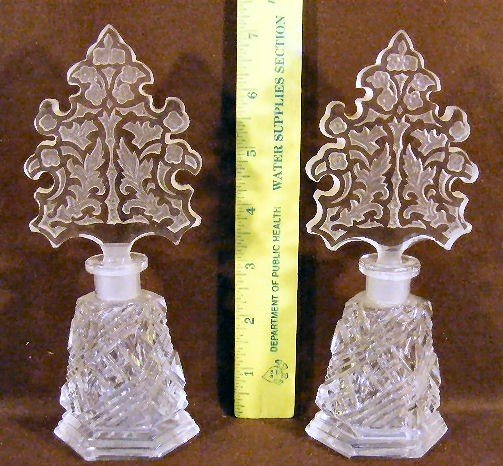 1P: Two Czech. Cut glass perfume bottles with etched st