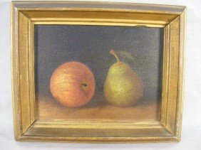 2P: Still life oil painting on paper, apple and pear, 1