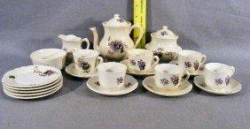 3P: Childs tea set, circa 1900, 6 cups & saucers, teapo