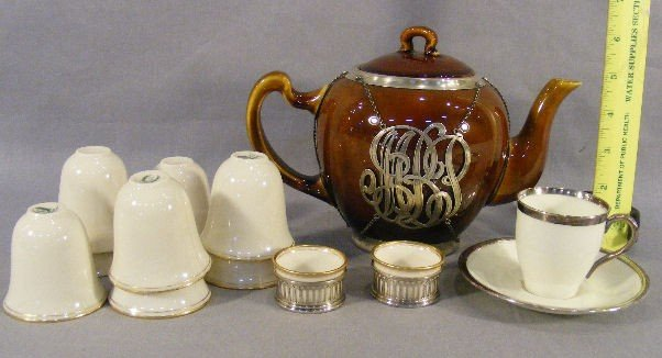 5B: Lot including teapot with Mauser sterling overlay,