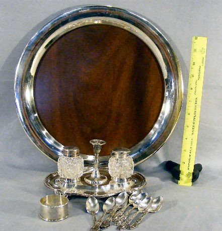 7B: Lot of misc. silver plate including standish with t