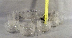 8B: Lot including 4 etched bowls, pressed glass cake st