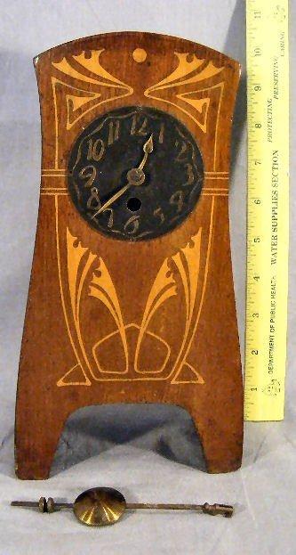 15M: Art Nouveau style mantle clock with inlaid case, 1