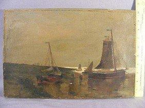 18P: Oil painting on canvas of European shore scene, un