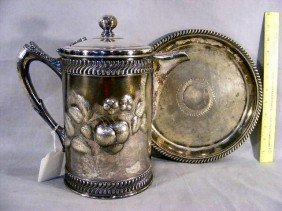 19V: Victorian silver-plated ice water pitcher & under