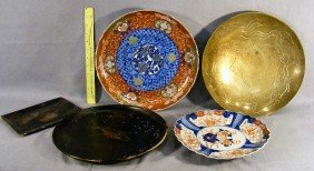 """22P: Lot including Chinese 12"""" bowl, imari plate, brass"""