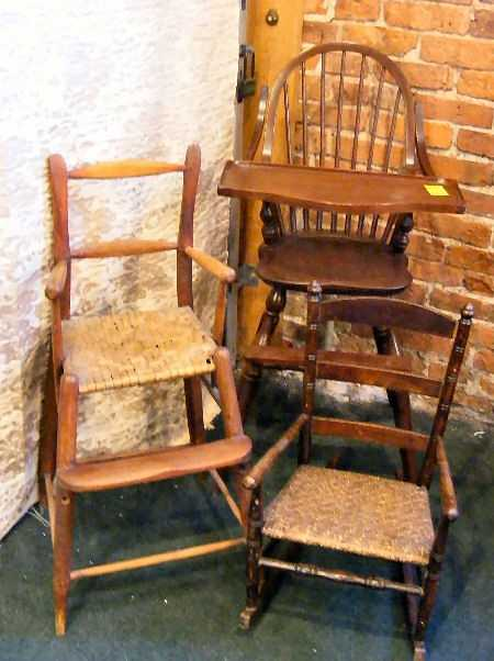 - 35P: Antique Youth Chair, Child's Rocker And Reproducti