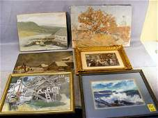 64Z: Lot of art including two oil paintings on canvas f