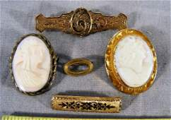 116B Lot including 10K gold cameo brooch base metal c