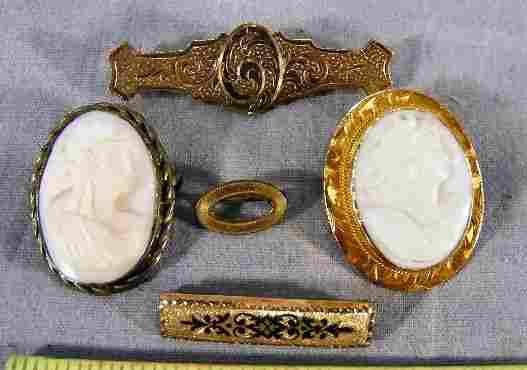 116B: Lot including 10K gold cameo brooch, base metal c