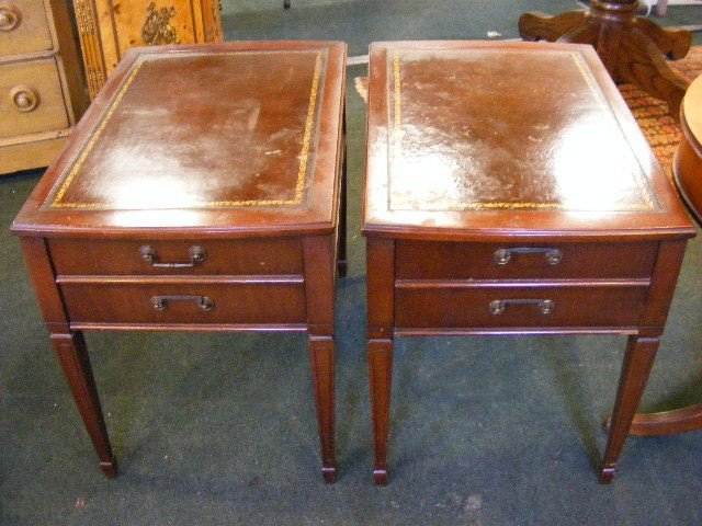 137T: Two leather top one drawer end tables and drum ta - 3