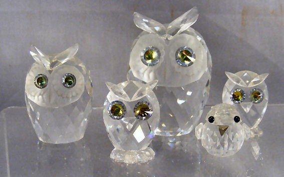 231T: Five Swarovski figures, four owls, one bird, tall