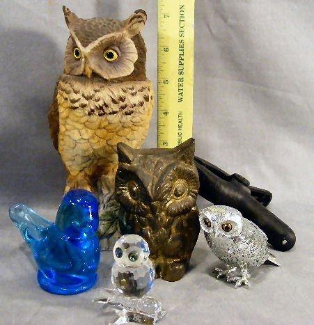 242T: Lot of owl figurines, Andrea, Goebel glass, Erphi - 2