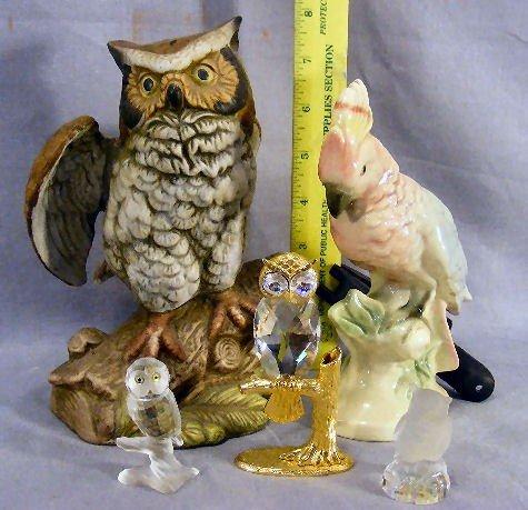 242T: Lot of owl figurines, Andrea, Goebel glass, Erphi - 4