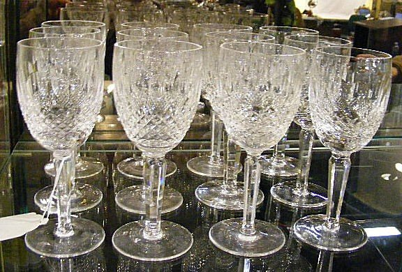 "2V: 12 Waterford Colleen pattern 6.5"" wine glasses all"