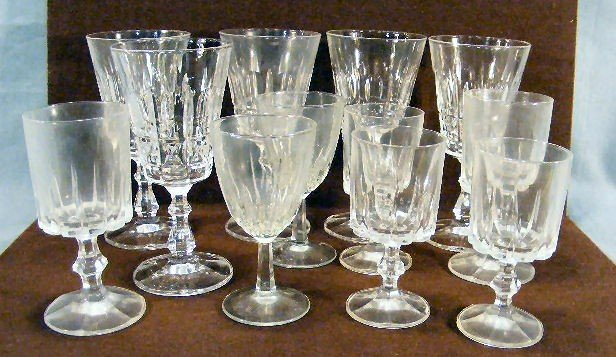 "3V: Lot of 5 Crystal de Paris water goblets, 6 7/8"" hig"