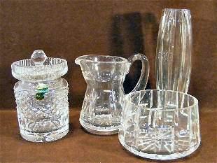 Waterford crystal covered jar, creamer & sugar and