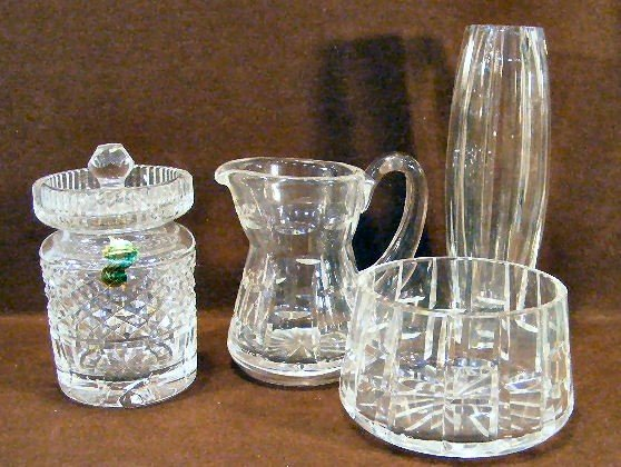 4V: Waterford crystal covered jar, creamer & sugar and