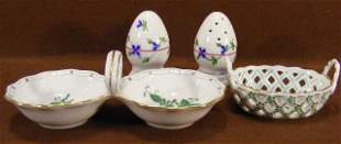 Herend double salt, small basket and pair of shaker